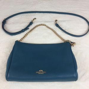 Coach Carrie Women's Blue Leather Cross Body Bag